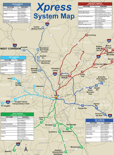 In Atlanta, GRTA's Xpress bus service is oriented almost exclusively towards suburban commuters.